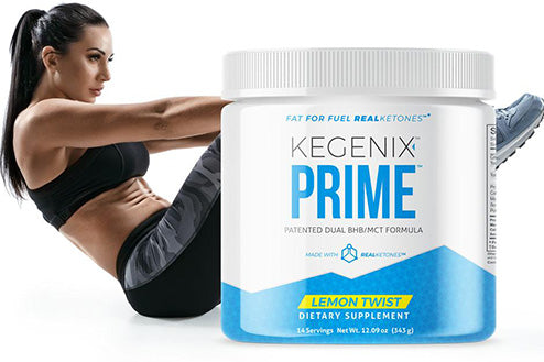 kegenix prime product and athletic woman behind it