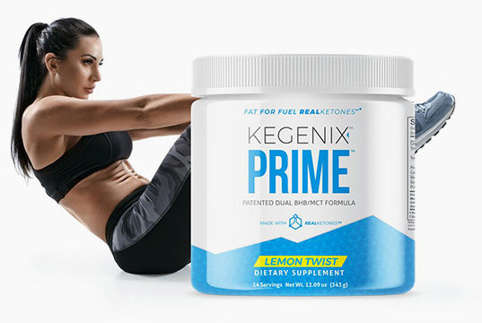 kegenix prime container with woman doing situps behind it