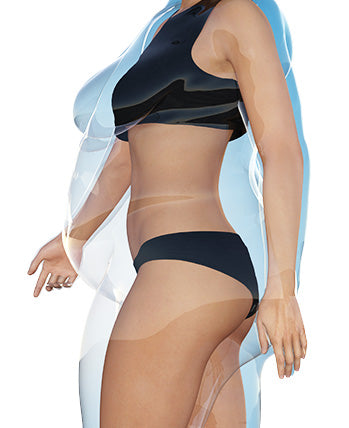 woman illustrated in her new healthier body with fat shown removed