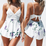 Summer Boho Beach Jumpsuit Floral Printed Lace
