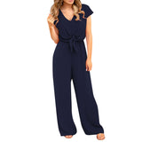Vogue Women Summer jumpsuit romper Soild V neck