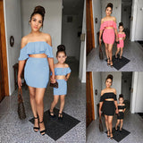 Mother and Daughter 2pcs Ruffle Tops and Skirt Outfits set