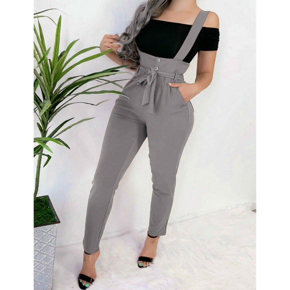 Women's Pocket High Waist Belt Jumpsuit