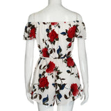Women'S Slash Neck Jumpsuit Floral Print Off Shoulder