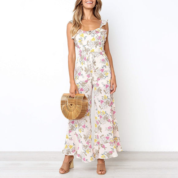 Backless summer floral print jumpsuits for women