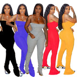 Echoine Sexy Bodycon Ruched Pleated Jumpsuit