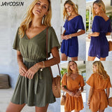 JAYCOSIN Women Solid V-neck Short Sleeve Lace-Up Slim Mini Jumpsuits