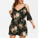Women Casual Plus Size Floral Cold Shoulder Jumpsuit