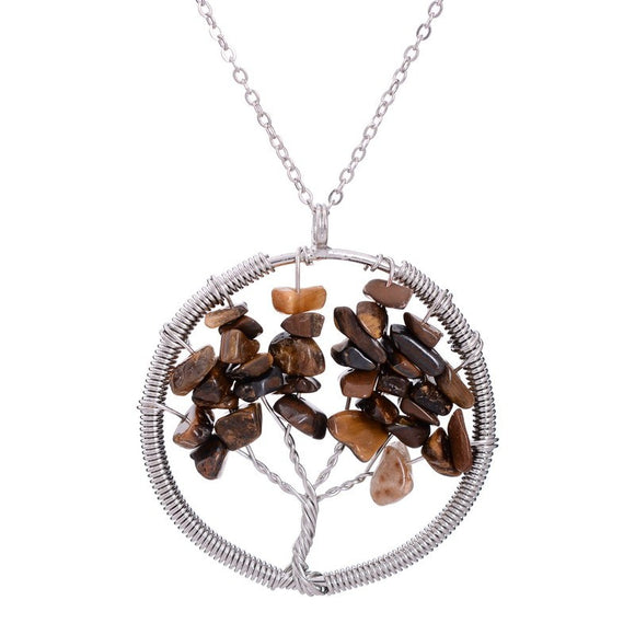 7 Chakra Amethyst Tree Of Life Quartz Pendant Necklace