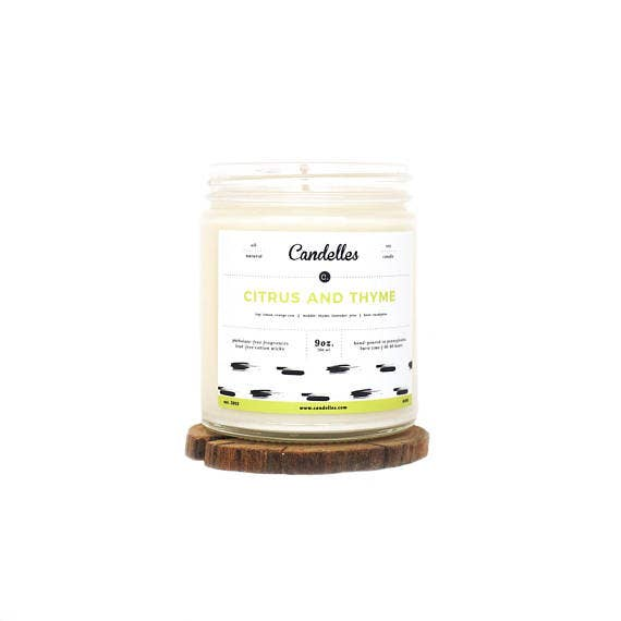 9oz Citrus and Thyme Scented Soy Candle