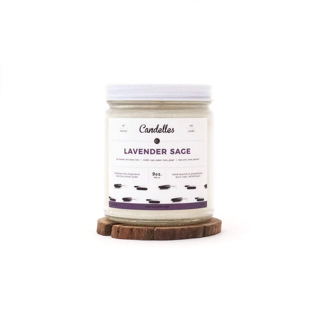 9oz Lavender Sage Scented Soy Candle