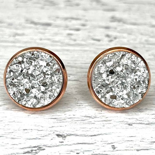 Silver Druzy Earrings 12mm