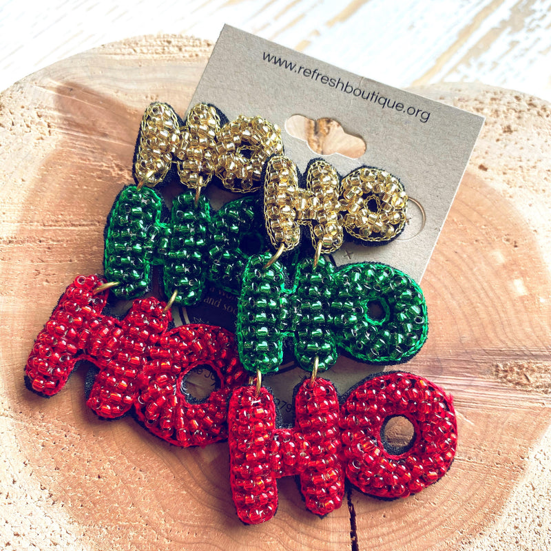 Ho Ho Ho Beaded Earrings
