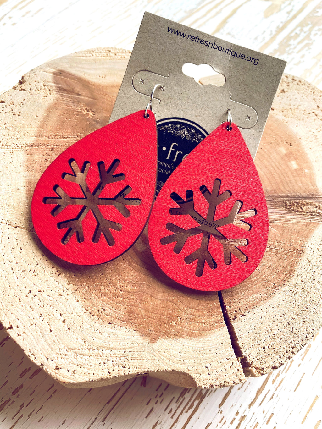 Wooden Snowflake Earrings