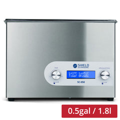 Shield Ultrasonic SC-050 Ultrasonic Cleaner 0.5gal / 1.8l | Stainless Steel, Heating, Digital, Laboratory Grade 25kHZ