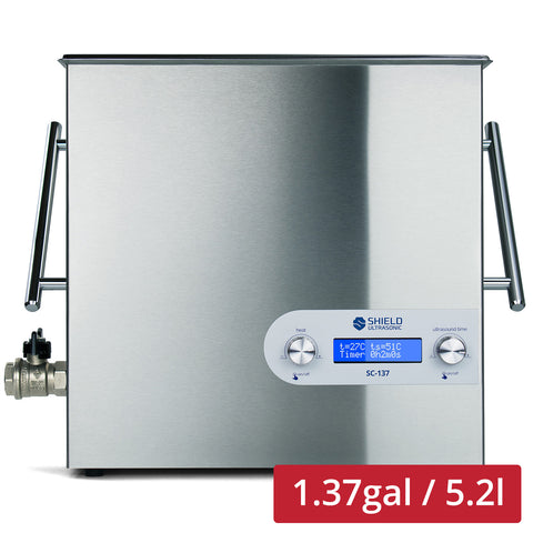 Shield Ultrasonic SC-137 Ultrasonic Cleaner 1.37gal / 5.2l | Stainless Steel, Heating, Digital, Laboratory Grade 25k