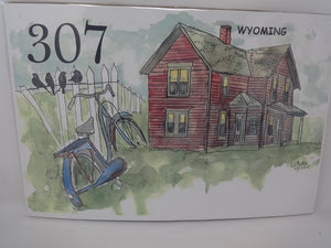 307 Blue Bicycle red house birds on fence watercolor print