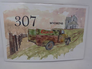 307 General Store truck, fence, house watercolor print