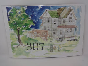 307 Man & Boy, Tractor, White House watercolor print