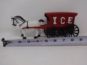 Cast Iron Horse with Ice Wagon