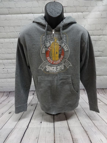Full Service Gas Pump Zip Hoodie- Grey