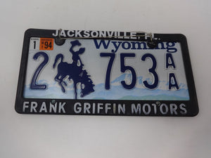 License Plate WY 2-753 AA in Frank Griffin Motors Frame