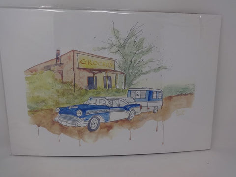 Vintage car, camper, Grocery store watercolor print