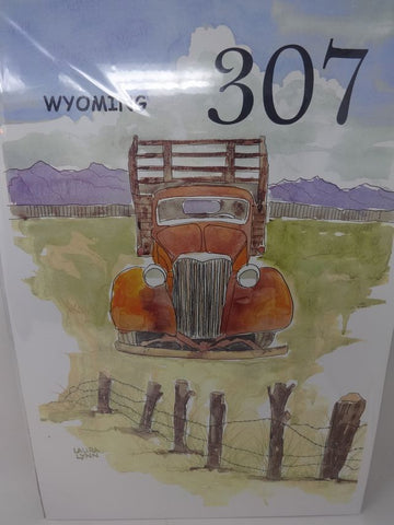 Vintage truck by barb wire fence watercolor print
