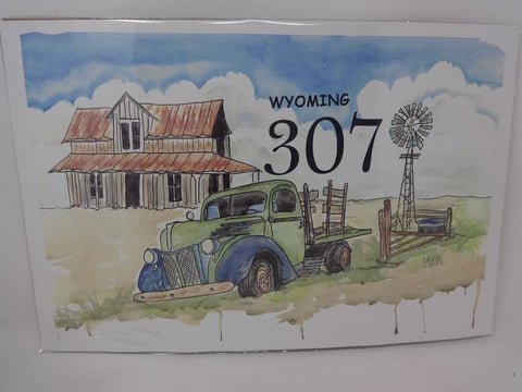 Wyoming 307 Truck, barn, windmill watercolor print
