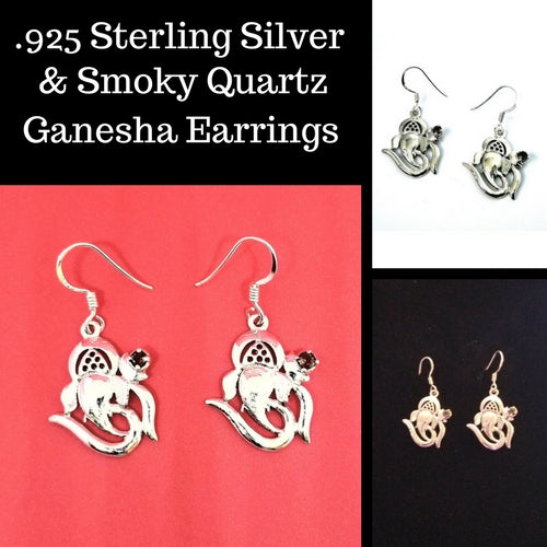 .925 Sterling Silver Smoky Quartz GANESHA OM Earrings - Free Shipping