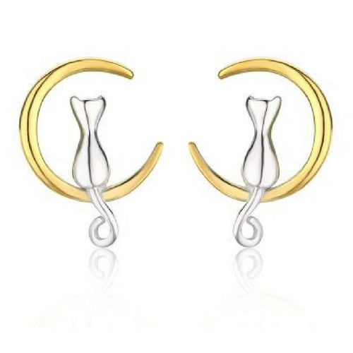 .925 Sterling Silver Cat & Gold Moon Stud Earrings - Free Shipping