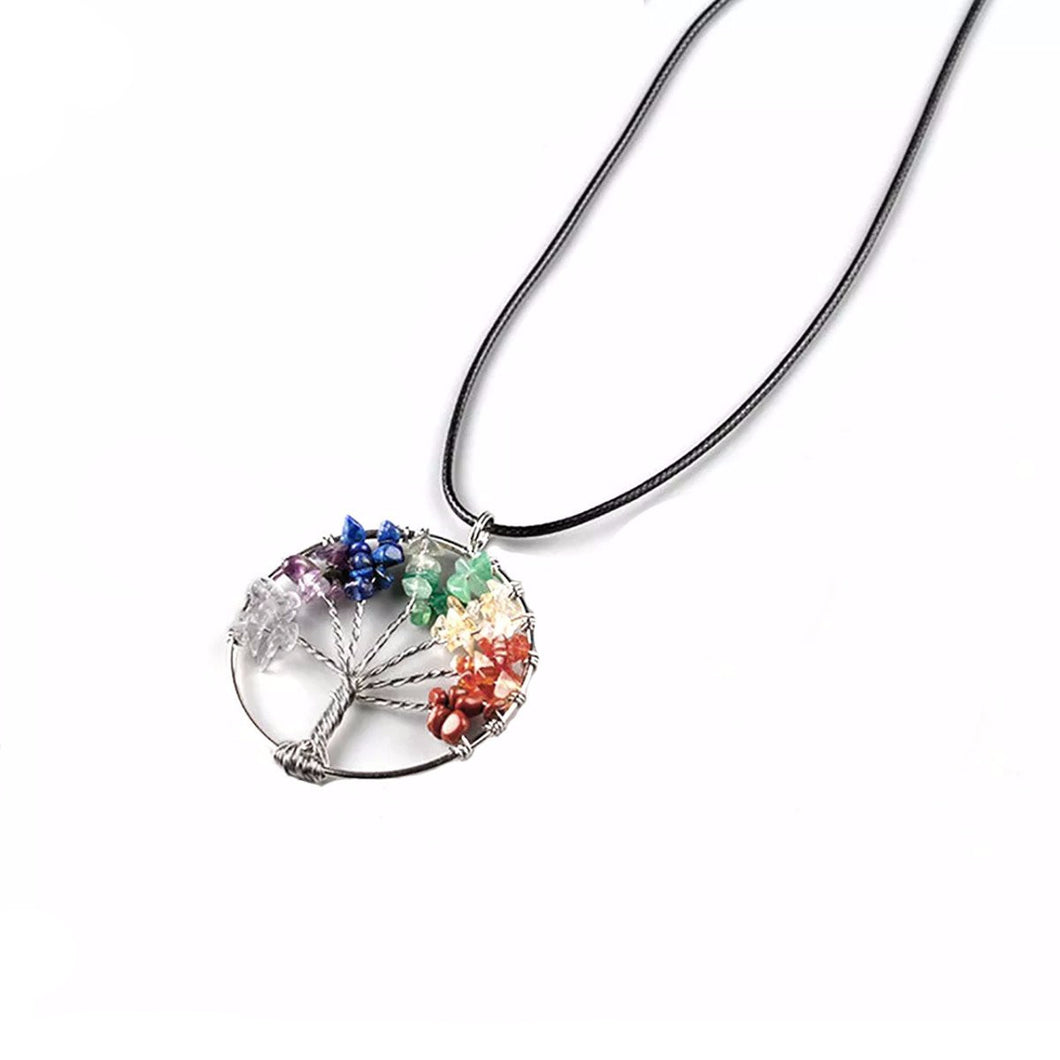 Chakra Tree Of Life Pendant Necklace - Free Shipping