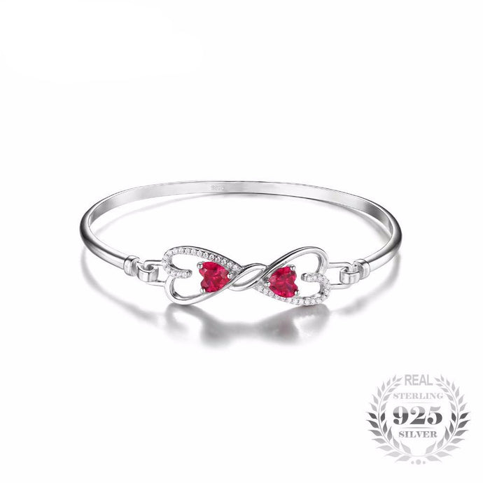 .925 Sterling Silver - 1.6 Created Ruby Heart Bangle Bracelet - Free Shipping