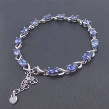 ".925 Sterling Silver Blue Sapphire Tanzanite Bracelet - 7""+ 1"" extension Chain - Free Shipping"