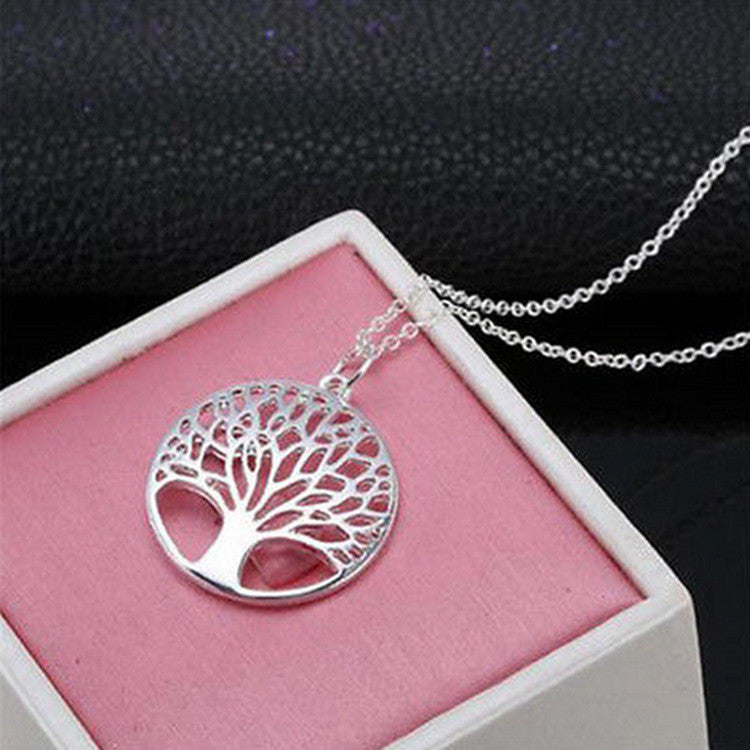 Tree of Life Silver-Plated Pendant Necklace - Free Shipping