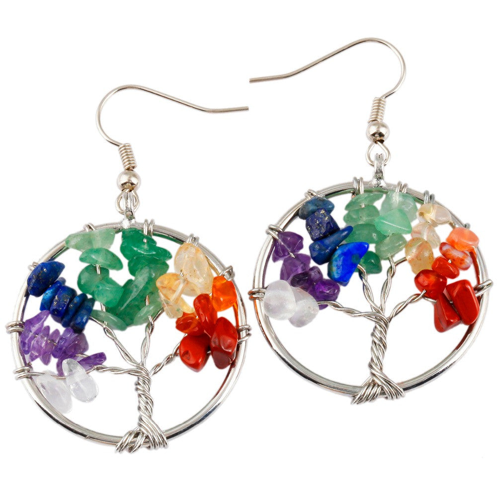 Chakra Tree Of Life Wire Wrapped Dangle Drop Hook Earrings - Free Shipping