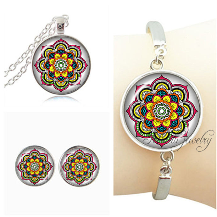 Hindu Mandala Jewelry - Pendant Necklace, Bracelet & Stud Earrings - Free Shipping