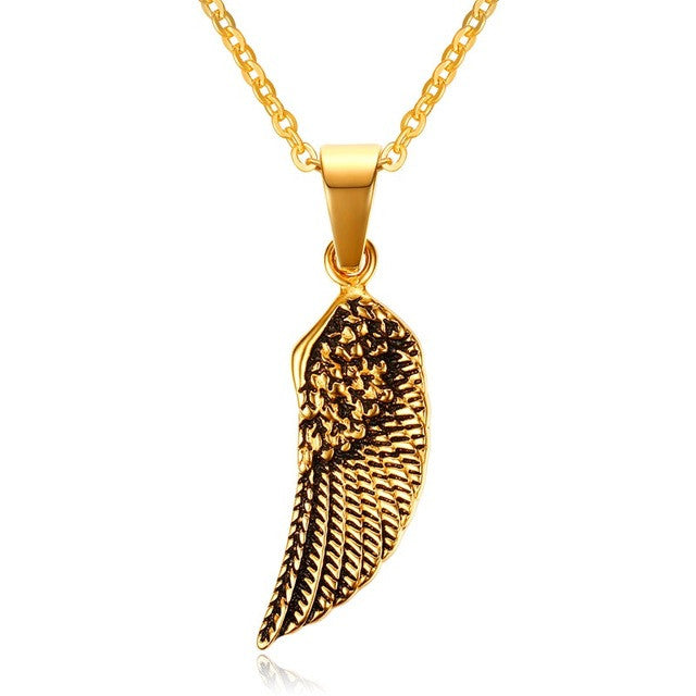 Stainless Steel Feather Angel Wing Pendant - Free Shipping