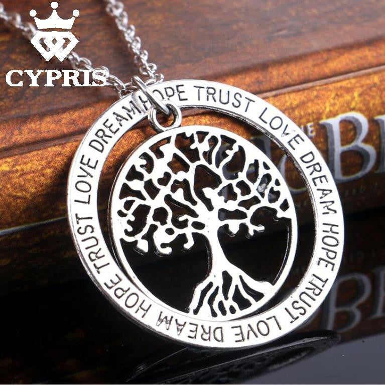 Tree of Life Silver Pendant Necklace - Dream, Hope, Trust, Love - Free Shipping
