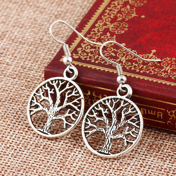 Antique Silver Tree Of Life Dangle Earrings - Free Shipping