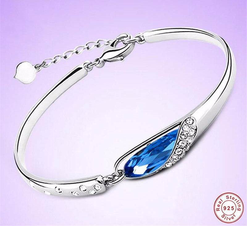 .925 Sterling Silver Crystal Sapphire Bracelet - Free Shipping
