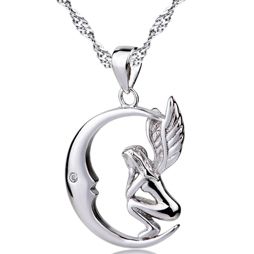 .925 Sterling Silver Woman and Angel Wings Pendant Necklace With Cubic Zirconia - Free Shipping