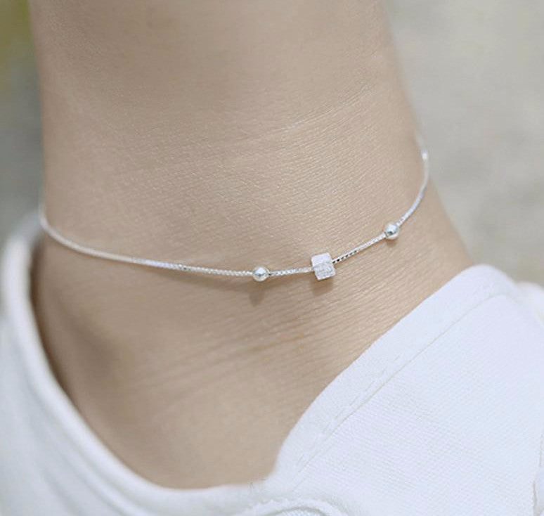 .925 Sterling Silver Geometric Square Anklets - Free Shipping