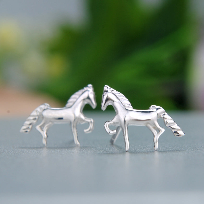 .925 Sterling Silver Mini Horse Stud Earrings - Free Shipping
