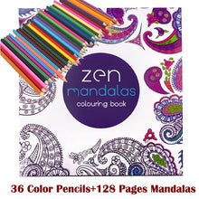 Adult Mandala Coloring Book With 36 Color Pencils - Free Shipping