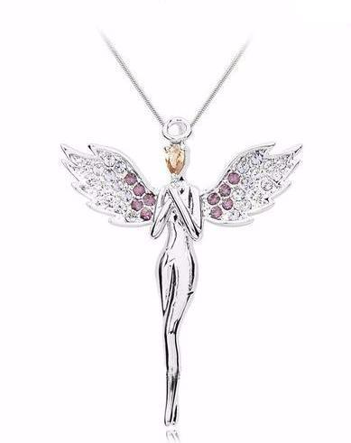 Zircon Crystal Angel Necklace Pendant  – Free Shipping