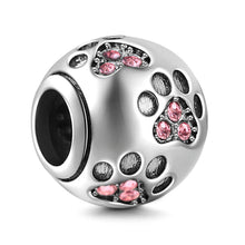 .925 Sterling Silver Dog Paw Print Bead / Charm with cubic Zirconia (available various colors) - Free Shipping