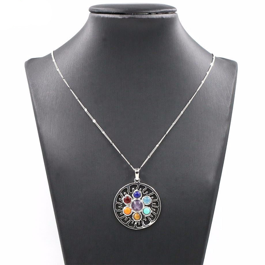 Chakra 7 Natural Stones Pendant Necklace - Free Shipping