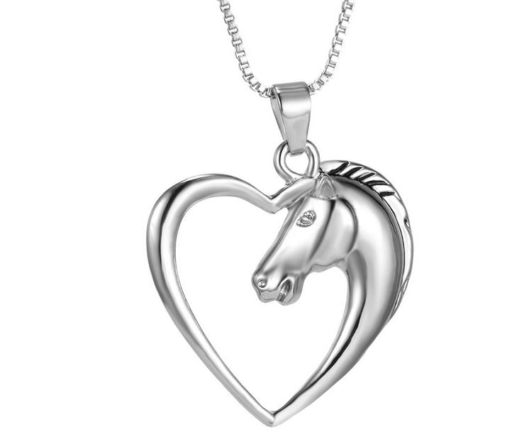 Silver Horse Heart Pendant Necklace - Free Shipping