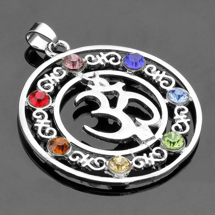 Om Pendant Necklace With Natural Chakra Stones - Free Shipping